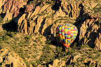 Tucson Mountain Range with Hot Air Balloon